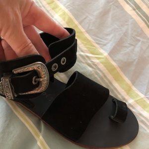 Free People suede sandal.  Western style buckle